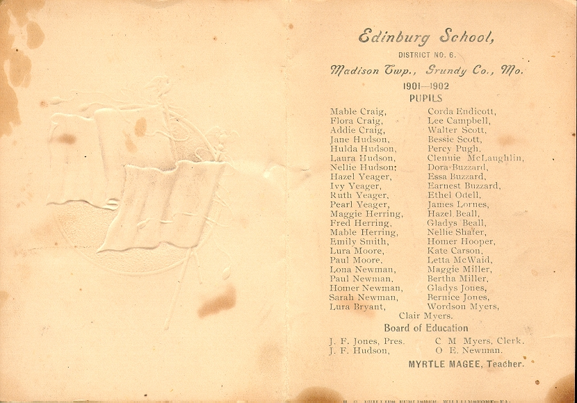 Edinburg School 1901-1902, Brochure