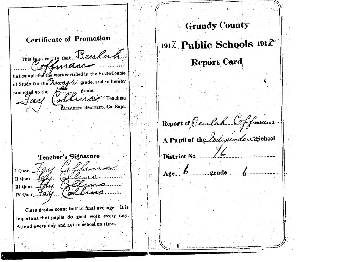 _ Coffman's 1917-18 Report Card